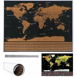Mapa odkrywcy podróżnika świata zdrapka zdrap miejsce gdzie byłeś z flagami