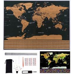 Mapa odkrywcy podróżnika świata zdrapka miejsce gdzie byłeś flagi pinezki