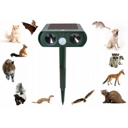 Odstraszacz zwierząt kun kotów psów solarny z czujnikiem ruchu ultradźwiękowy