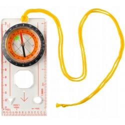 Kompas mapowy z podziałką turystyczny mapnik lupa zawieszka na szyję