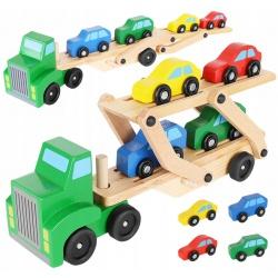 Drewaniane samochodziki laweta tir ciężarówka samochód drewniany + 4 auta