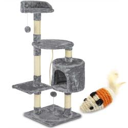Domek legowisko drapak dla kota wysokość 111 cm platformy gruby sznur domek myszka do zabawy