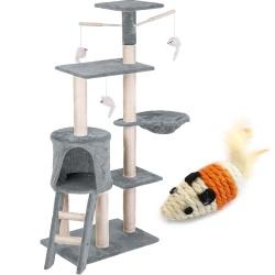 Domek legowisko drapak dla kota wysokość 140 cm platformy wiszące maskotki domek myszka do zabawy