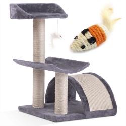 Domek legowisko drapak dla kota wysokość 58 cm platformy wiszące maskotki domek myszka do zabawy