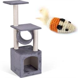 Domek legowisko drapak dla kota wysokość 93 cm platformy wiszące maskotki domek myszka do zabawy