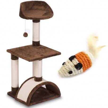 Mały drapak domek dla kota 83 cm tunel platformy zabawka na sznurku dwa kolory