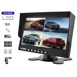 Monitor LCD 7 cali do samochodu na cztery kamery cofania 4PinQuad
