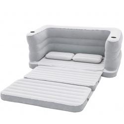Dmuchana sofa 2w1 z materacem welurowym 200 x 160 x 64 cm Bestway 75063