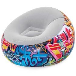 Fotel dmuchany młodzieżowy pufa Graffiti 112 x 112 x 66 cm Bestway 75075