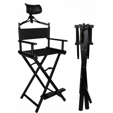 Krzesło do makijażu Make-Up reżyserskie aluminiowe składane z oparciem i zagłówkiem