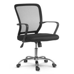 Fotel biurowy obrotowy krzsło oddychające oparcie z mikrosiatki czarny szary
