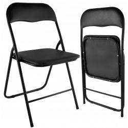 Krzesło ogrodowe składane cateringowe czarne miękkie siedzisko bankietowe