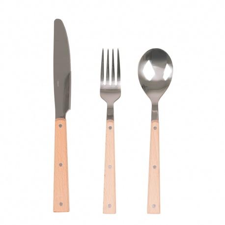 Szućce w stylu Vintage metal drewno 6 sztuk widelec nóż łyżka
