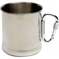 Metalowy kubek traperski z karabińczykiem pojemność 220ml ze stali nierdzewnej