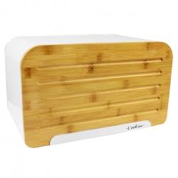 Elegancki chlebak z bambusową deską do krojenia czarny lub biały