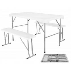 Rozkładany stół cateringowy 113cm + 2 ławki wygodne przenoszenie turystyczny