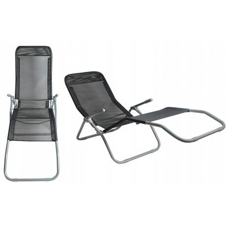 Leżak plażowy fotel ogrodowy składany balansowy do opalania się z siatki