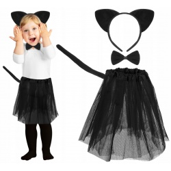 Strój kotek dla dziewczynki spódniczka kostium uszy ogon zestaw 4w1