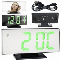 Budzik lustro zegar elektroniczny termometr LED 19 x 10cm tryb nocny