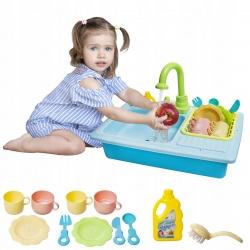 Zabawkowy zlewozmywak do zmywania naczyń dla dzieci zestaw leci woda