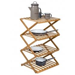 Szafka składana turystyczna bambusowa 4 półki FITZROY BAMBOO osdoba salonu