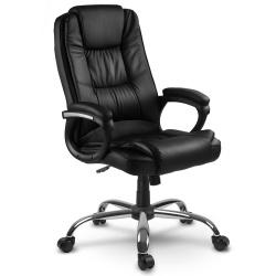 Fotel biurowy dla prezesa na kółkach eko skóra obrotowy TILT podłokietniki