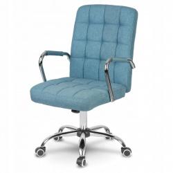 Fotel biurowy na kółkach materiałowy plecionka szary czarny niebieski
