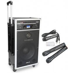 Kolumna mobilna z odtwarzaczem CD i mikrofonami Vonyx ST180 na kółkach