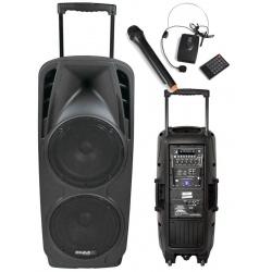 Kolumna mobilna z mikrofonami Ibiza Sound PORT225VHF-BT nagłośnienie na kółkach