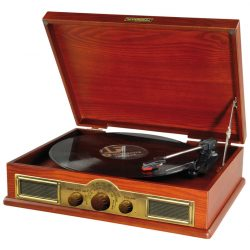 Gramofon Vintage w drewnianej obudowie z drewna radio FM w stylu Retro HYUNDAI