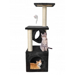 Mały drapak domek dla kota 90 cm tunel i zabawka myszka zabawka