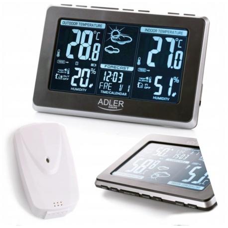 Wielofunkcyjna stacja pogody termometr pogodynka wilgotność zegar Adler AD 1175