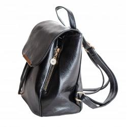 Stylowy plecak damski mały elegancki plecaczek eko skóra czarny połysk