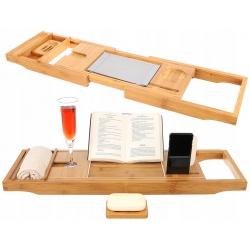 Półka bambusowa na wannę do jacuzzi stojak nakładka na książkę tablet napój