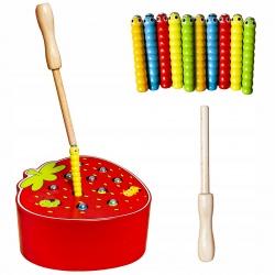 Gra zręcznościowa dla dzieci drewniana złap robaczka magnes truskawka kijek
