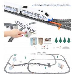 Kolejka elektryczna 9 metrów duży tor pociąg lokomotywa wagony most zwodzony