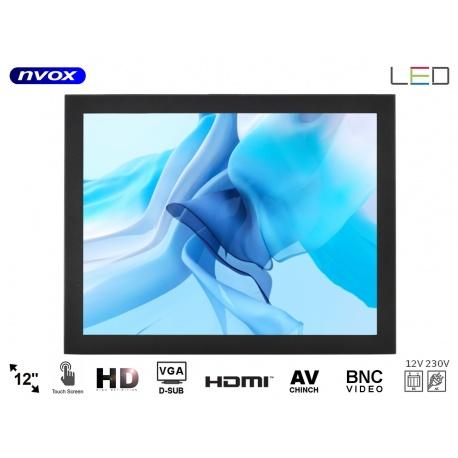 Monitor dotykowy do zabudowy samochodowy do tramwaju OPEN FRAME NVOX 12 cali Digital LED Hi-Contrast VGA HDMI metalowa obudowa