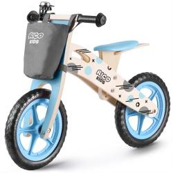 Drewniany rowerek biegowy niebieski Ricobike RC-612 z torbą koła 12 cali
