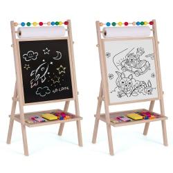 Obrotowa tablica magnetyczna kredowa do rysowania 4w1 Ricokids papier pisak gąbka kreda