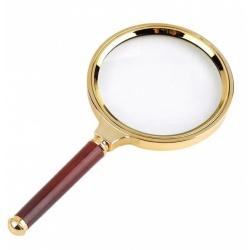 Lupa ręczna szkło powiększajace 90mm 6x GOLD szklana optyka piękna rączka