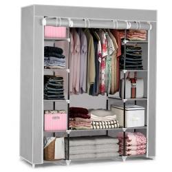 Duża szafa tekstylna składana przenośna garderoba Massido 45 x 135 x 170 cm 12 półek dwa kolory