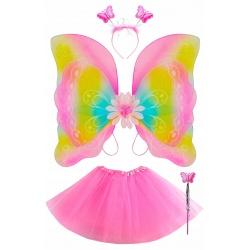 Strój dla dziewczynki kostium motylek wróżka spódniczka różdżka skrzydła motylki