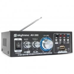 Wzmacniacz stereo 2x 40 Watt SkyTronic AV360 z radio FM USB SD odtwarzacz MP3