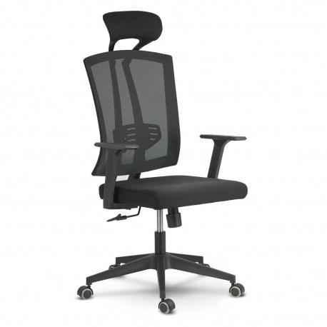 Fotel biurowy z zagłówkiem mikrosiatka gumowane kółka oddychający materiał regulacja siedziska