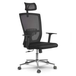 Fotel biurowy z regulowanym zagłówkiem mikrosiatka gumowane kółka oddychający materiał