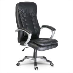 Komfortowy skórzany fotel biurowy mechanizm TILT ergonomiczny kształt podwójna poduszka