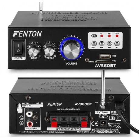 Wzmacniacz stereo 2x 40 Watt Fenton AV360BT z radiem FM USB SD odtwarzacz MP3