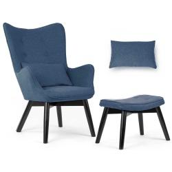 Fotel uszak wypoczynkowy z podnóżkiem styl skandynawski drewniane nogi