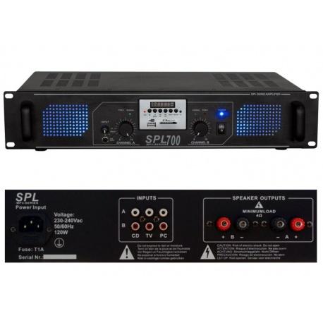 Wzmacniacz mocy 700W Skytec SPL700MP3 Port USB oraz slot SD 4 wejścia stereo