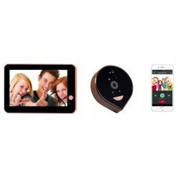 Video wizjer Reer Electronics ED-400PB judasz wideo zdjęcia czujnik ruchu 720p dźwięk ekran 4,3 cala moduł WifI